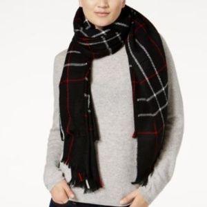 Ralph Lauren Oversized Knit Scarf Black Plaid